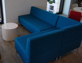 office sofa recover in new fabric - after